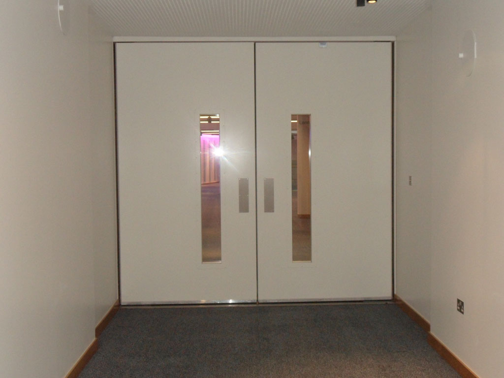 Fire Rated and Acoustic Pivot Door, Vision Panels - 60mins 40dB